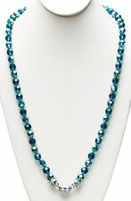 "KIRKS FOLLY NEW 30"" LENGTH GODDESS CRYSTAL  2-TONE MAGNETIC  NECKLACE teal / st"
