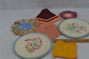 old early cooking stove pot holders 7 lot patchwork crochet period 1920