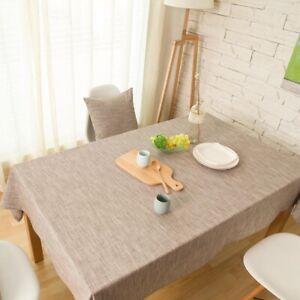 Classic Cotton Linen Tablecloth Plain Dining Kitchen TableCloth Cover Home Decor