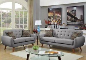 Sofa Set Living Room 2pc Set Polyfiber Grey Sofa Loveseat Armrest Pillows Couch