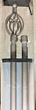 """SEEMA DOUBLE 3/4"""" DIAMETER CURTAIN RODS WITH DECORATOR FINIALS, SILVER"""