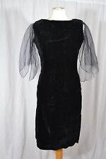 VINTAGE 1960s NINETTE Melbourne black velvet cocktail dress size 10 party