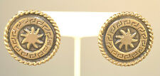 """Round Pierced Earrings Sun In Center Vintage Mexican Sterling Silver Huge 1.25"""""""