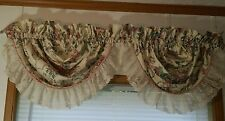 "2pc Set CROSCILL Elizabeth Gray  VICTORIA Roses Scallop Swag VALANCES 20""x13"" Ea"