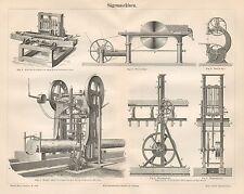 B6524 Macchine per segare il legno - Incisione antica 1890 - Engraving