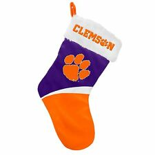 "Clemson Tigers Holiday 17"" Christmas Stocking Team Logo New 2016"