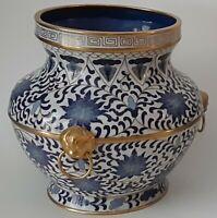 Fine Pair Of Chinese Blue & White Cloisonne Enamel Cache Pots/Vase W/ Gold Gilt