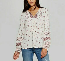 *Womens SIZE XS FLORAL PRINT LONG SLEEVE V-NECK YOKE TOP WHITE KNOX ROSE