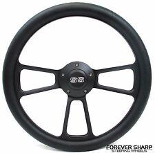"""14"""" Billet Aluminum Black Steering Wheel Set 1968 Camaro 1965-66 Impala SS Tilt"""