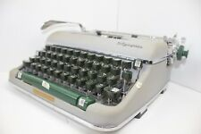 Vintage Olympia DeLuxe SM4 Portable Typewriter Art Deco & Case Working