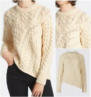 New EX M&S Cream Chunky Cable Knit Thick Winter JUMPER Size 8 - 20