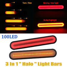 2x Halo Neon LED RV Trailer Truck Stop Flowing Turn Signal Brake Rear Tail Light