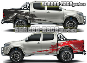 Toyota Hilux 014 side cab & tub shredded grunge graphics stickers decals vinyl