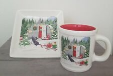 NEW MAGENTA CHRISTMAS TREE WREATH RED TRAVELCAMPER PUPPY HOLIDAY MUG & PLATE SET