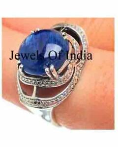 Natural Rose Cut Diamond & Sapphire 925 Sterling Silver victorian Ring Jewelry