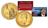 DONALD J TRUMP 45th President Golden-Hue PRESIDENTIAL DOLLAR $1 US Coin with COA