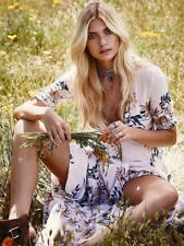 Free People Ivory After The Storm Floral Print Boho Maxi Shirt Dress 2 Rare
