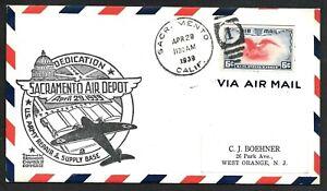 Sacramento, California CA, Army Air Depot Airport Dedication Cachet Cover 1939