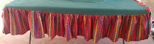 Peruvian Woven Green Red Blue Yellow Black Purple Striped Woven Bed Skirt King