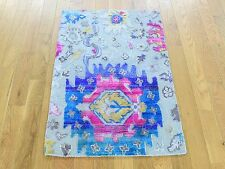 """2'x3'2"""" Colorful Sari Silk With Oxidized Wool Hand Knotted Oriental Rug G30255"""