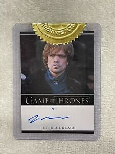 GAME OF THRONES PETER DINKLAGE SEASON 1 AUTOGRAPHED CARD, NR, SEE PICS EXC