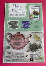 Time For Tea Teacup Die & Stamp Set Teapot Cup Bird Flowers Just For You Teabag