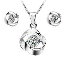 New 925 Silver Crystal Pendant Necklace Earrings Set Women Fashion Jewelry