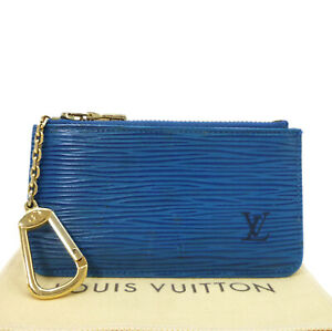 Auth LOUIS VUITTON Pochette Cles Epi Coin Purse M63805 Blue Leather #W510011