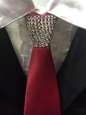 New Mens Ballroom Wedding Dance Red Zip Necktie with Clear Swarovski Crystals