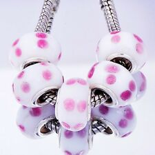 wholesale charms 5Pcs cute pink point Silver MURANO BEADS Fit European Bracelet