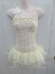 Ivory Pale Yellow Lace Ballet Dress Dance Costume Large Child LC 12 14