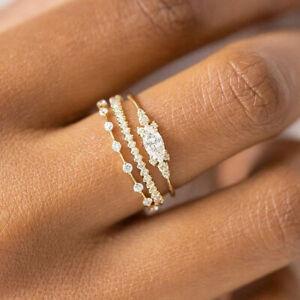 3pcs/set 14k Yellow Gold Plated Cubic Zirconia Thin Wedding Ring for Women Girl