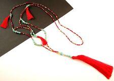Handmade 1 Long Red Tassel Dangle Turquoise Gemstone & Beaded Necklace # 84