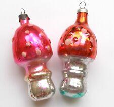 2 Vintage Russian Silver Glass USSR Christmas Xmas Tree Ornaments Mushrooms