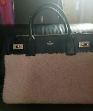 Kate Spade Luna Drive large Shearling Leather Black and beige bag rare NEW