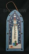 Hand-Painted Primitive Wood Arched Snowman Sign