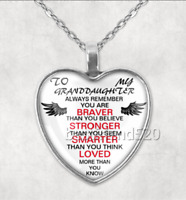 To My Granddaughter Photo Tibet Silver Cabochon Glass Heart Necklace Pendant