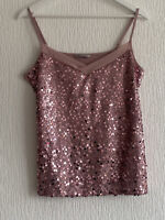 DUSTY PINK SEQUIN CAMI TOP SPARKLY 14 M&S GLAM SUMMER BOHO TOWIE CELEB PRETTY