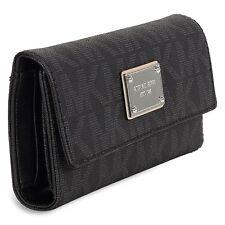 Nwt Michael Kors MK Logo Checkbook Wallet Black mono PVC signature silver pen