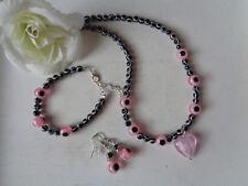 """Außergewöhnliche Kette +Armband + Ohrhänger """"Böser Blick"""" schwarz/rosa"""