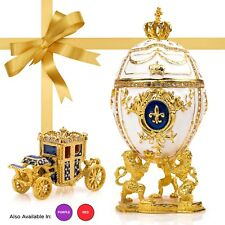 """Royal Imperial White Faberge Egg: Extra Large 6.6"""" with Faberge carriage"""