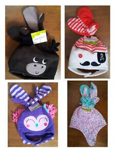Infant Toddler Hat Mitten Set Chin Strap Choose Size & Pirate Moose Cheetah NEW