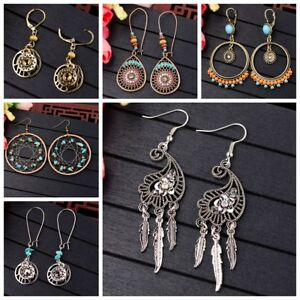 Vintage Bohemian Boho Tassel Colorful Wooden Beads Dangle Stud Women Earrings