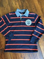 Gap Kids Boys Long Sleeve Polo Shirt Size L Navy Orange stripe EUC