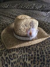 Vintage Stetson Straw Hat Marked 7 1/4 , Feather Band