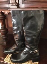 Nine West Black Tall Boots Size 5 1/2 5.5 Medium Leather Uppers Made In Brazil!