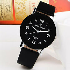 Casual Simple Round Stainless Steel Band Women Girl Quartz Wrist Watch Leather