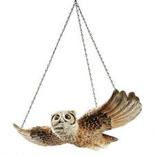 Garden Hoot Owl In Flight Woodland Forest Hanging Sculpture