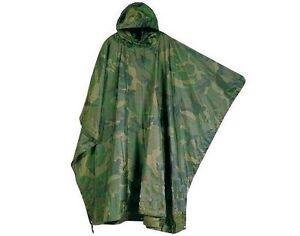 WATERPROOF CAMO LIGHTWEIGHT HOODY PONCHO camping hiking fishing outdoor jacket