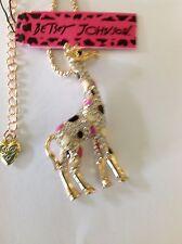 "PRETTY CRYSTAL GIRAFFE/ Pink & Black Spots  28"" Pendant Necklace Betsey Johnson"